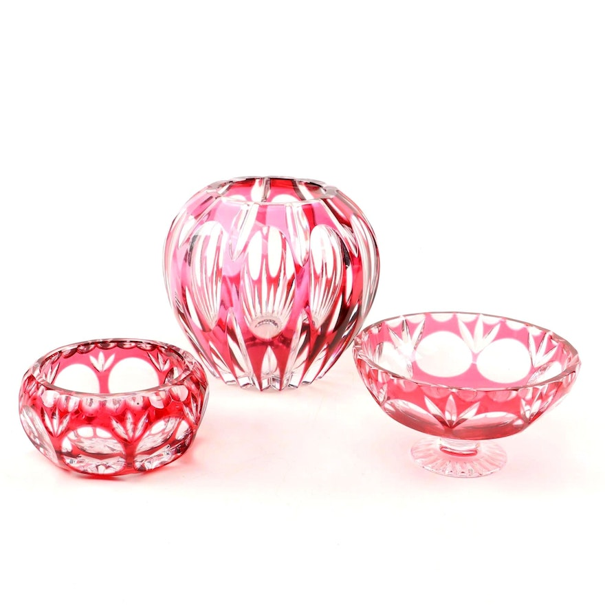Cranberry Flash Glass Rose Bowl, Compote and Bowl