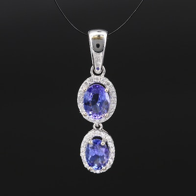 14K 2.08 CTW Tanzanite and Diamond Halo Pendant