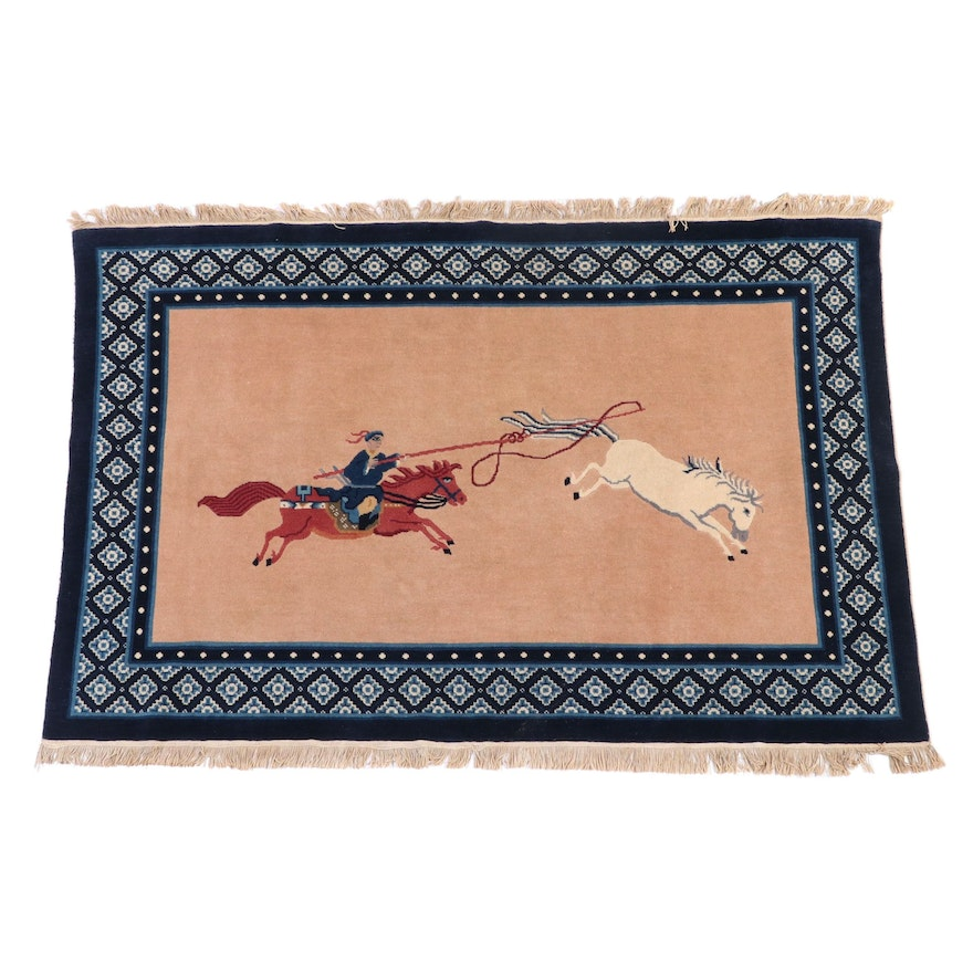 6' x 4'5 Hand-Knotted Chinese Style Pictorial Wool Area Rug