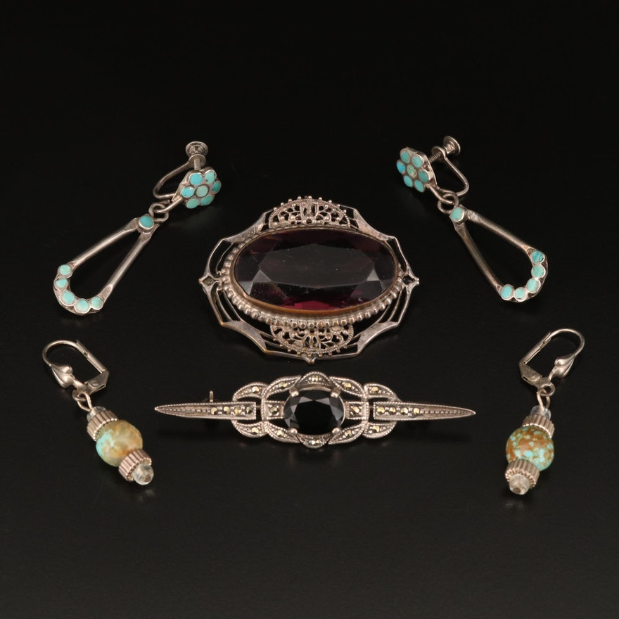 Drop Earrings and Openwork Brooches with Sterling, Black Onyx and Turquoise