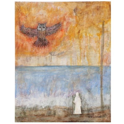 M. K. Larson Mixed Media Painting of Figure With Staff and Owl