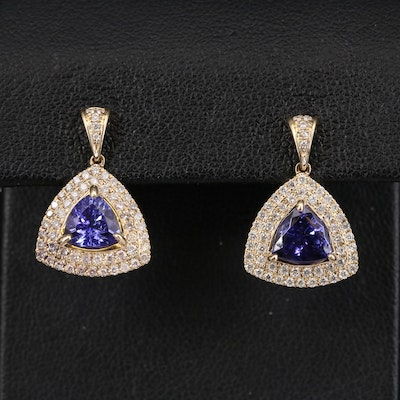14K 2.52 CTW Tanzanite and Diamond Halo Earrings
