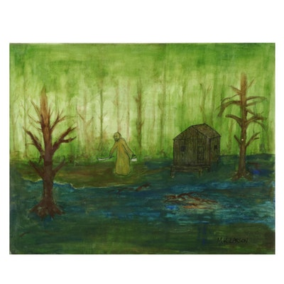 M. K. Larson Mixed Media Painting of Man Holding Knife in Swamp