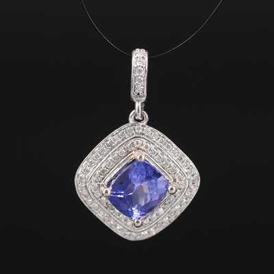 14K 1.68 CT Tanzanite and Diamond Double Halo Pendant