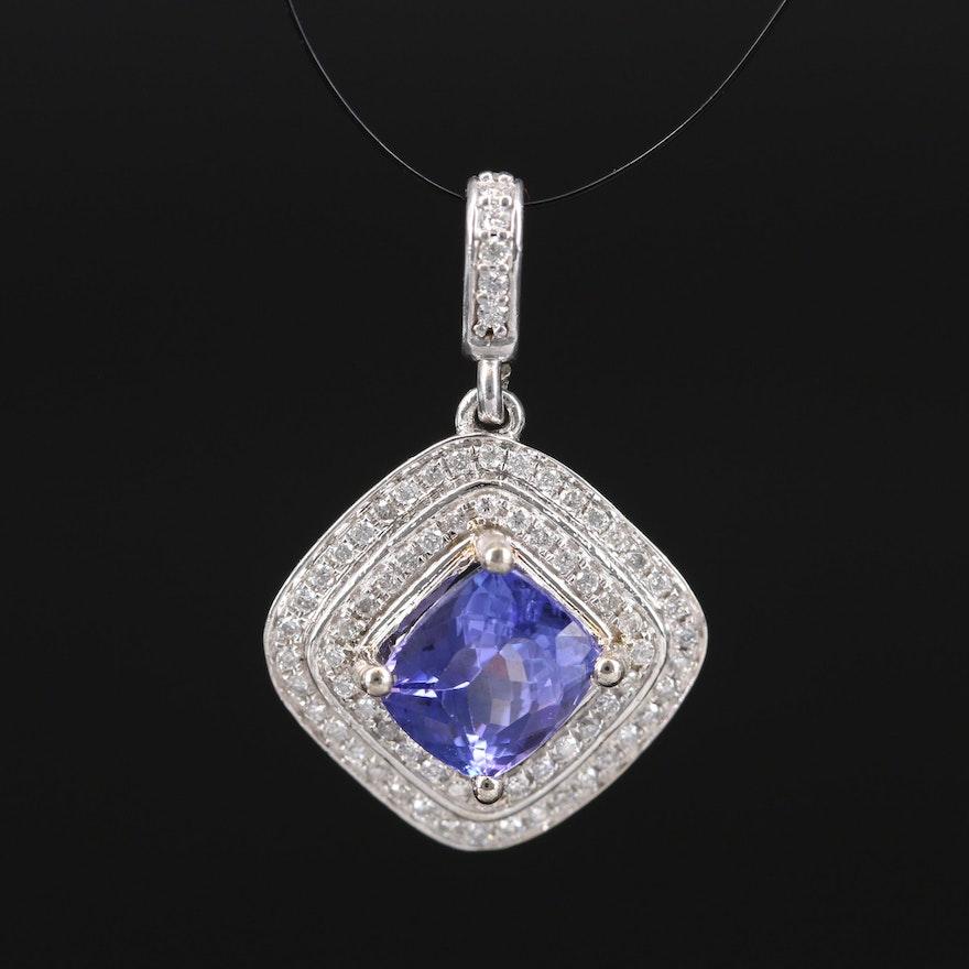 14K 1.68 CT Tanzanite and Diamond Double Halo Pendant