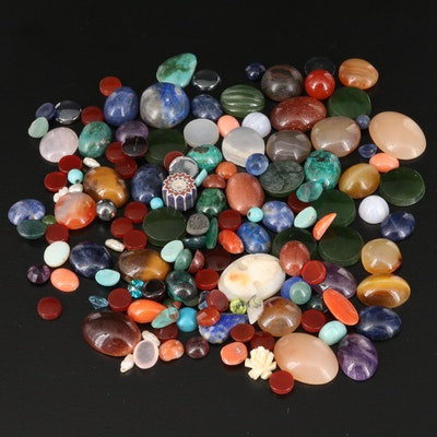 Loose Mixed Gemstones Including Agate, Tiger's Eye and Lapis Lazuli