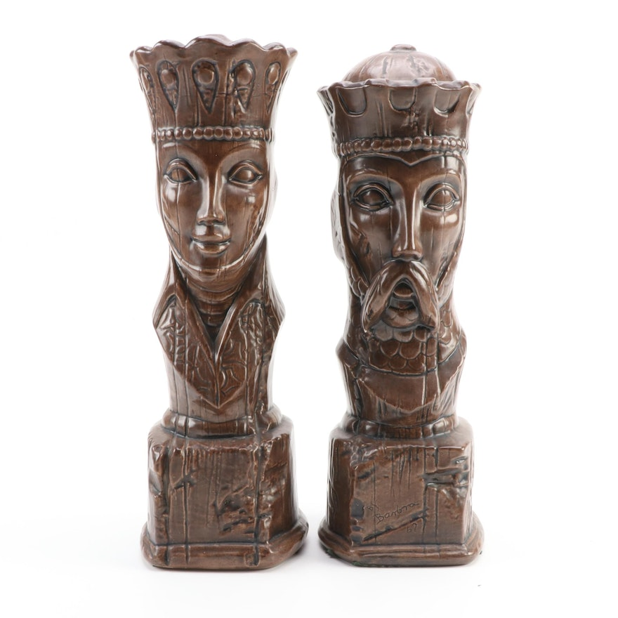 Large King and Queen Ceramic Chessboard Theme Figurine,  Late 20th Century
