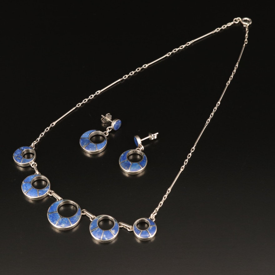 Southwestern 950 Silver Lapis Lazuli Inlay Necklace and Earrings