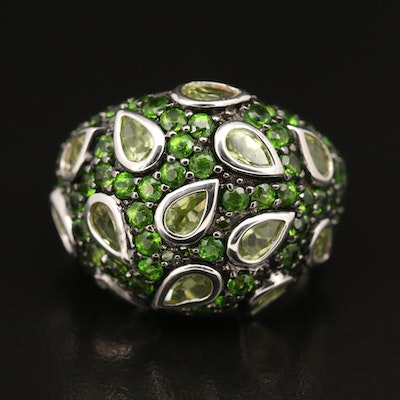 Sterling Peridot, Diamond and Gemstone Dome Ring