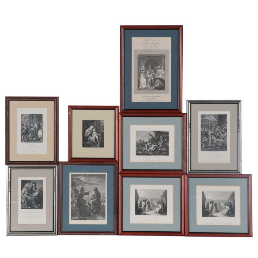 Religious Scene Engravings and Lithograph after Bernhard Plockhorst and More