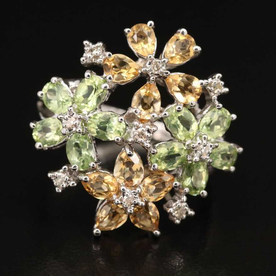 Sterling Peridot, Diamond and Gemstone  Floral Cluster Ring