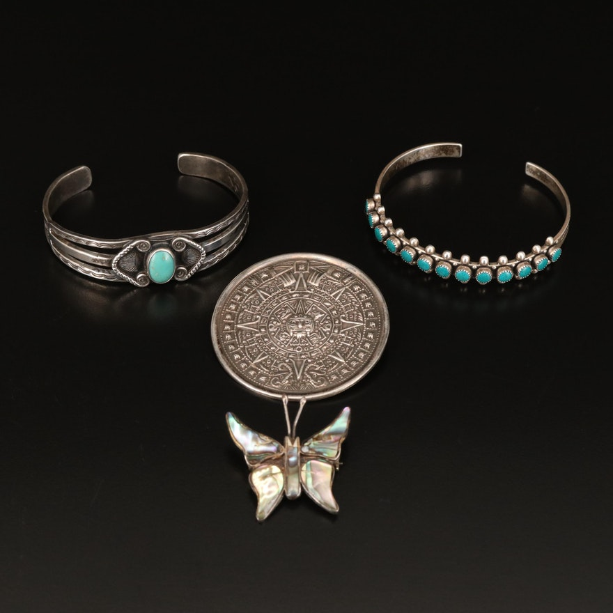 Southwestern and Mexican Sterling Jewelry Including Abalone and Turquoise