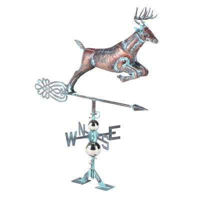 Verdigris-Patinated Copper Hollow-Body Leaping Stag Weathervane