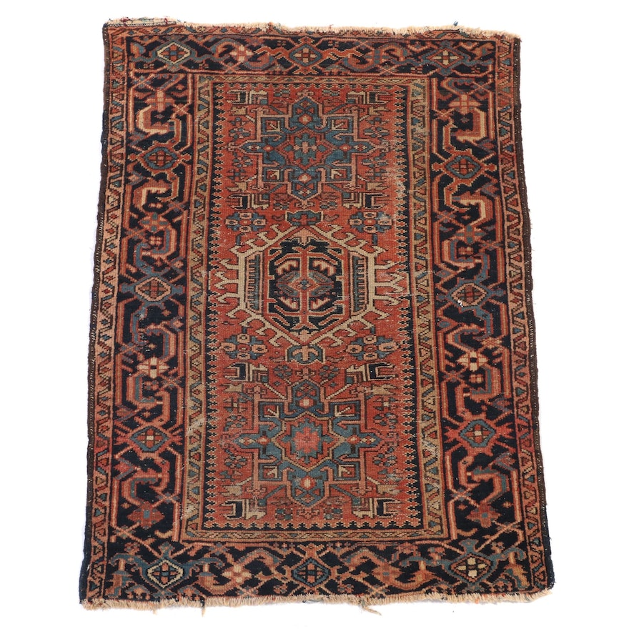 3'4 x 4'5 Hand-Knotted Persian Karaja Wool Accent Rug
