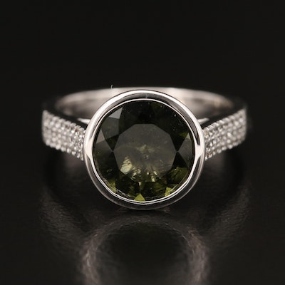 Sterling Moldavite and Zircon Ring