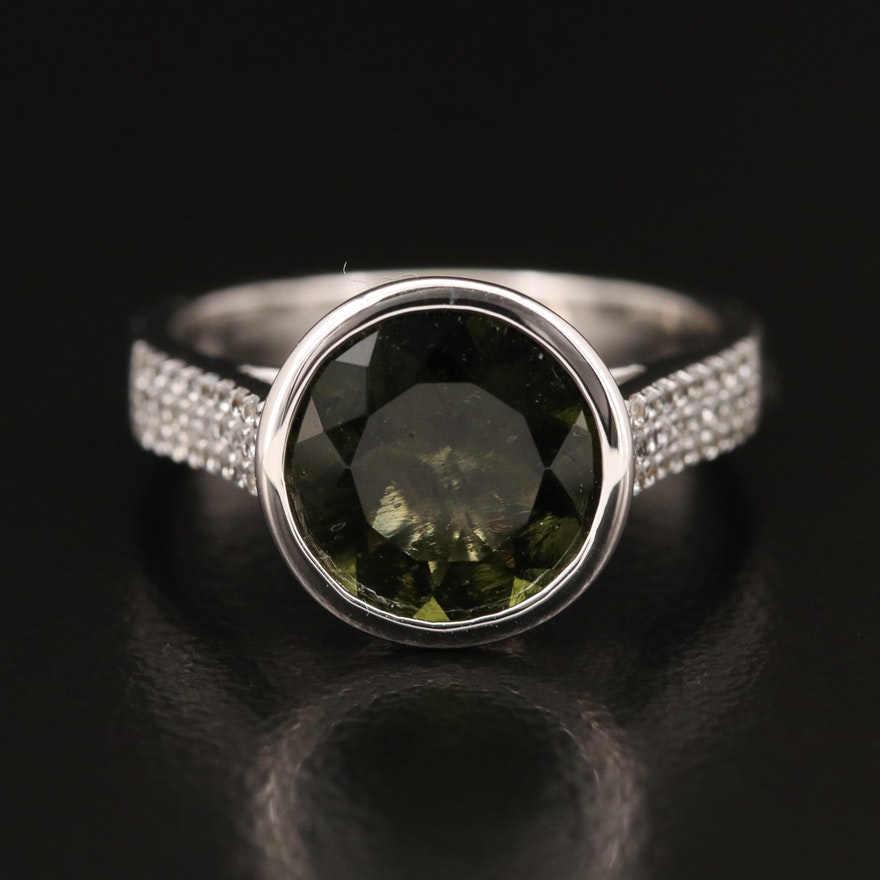 Sterling Moldavite and Zircon Ring