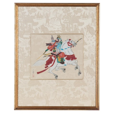 Japanese Gouache Painting of a Samurai on Horseback
