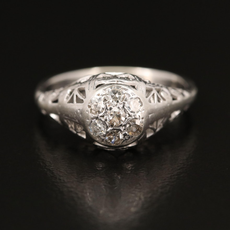 Art Nouveau 18K Diamond Openwork Ring