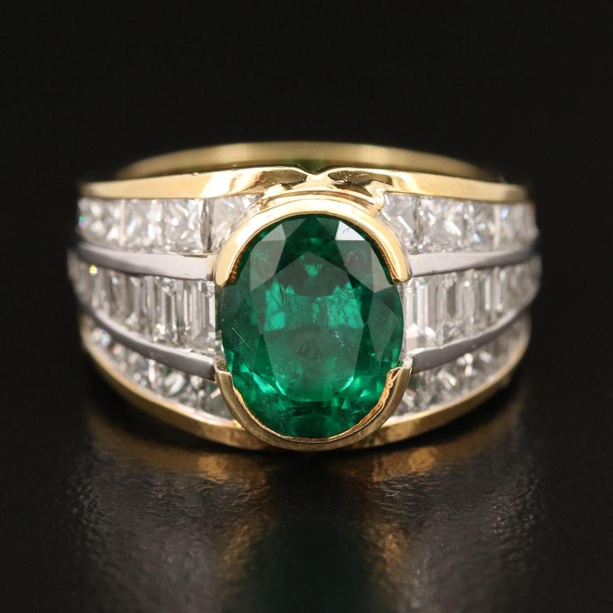 JB Star 18K 2.50 CT Emerald and 3.33 CTW Diamond Ring