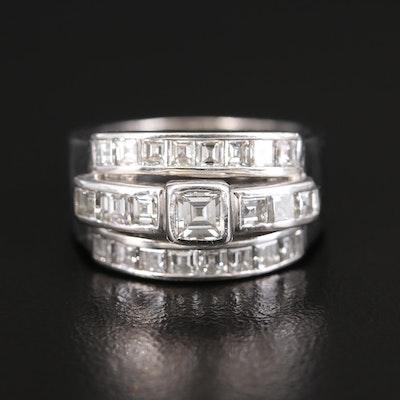 Platinum Diamond Multi-Row Ring with 1.32 CTW Side Diamonds