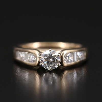 14K 1.01 CTW Diamond Cathedral Ring