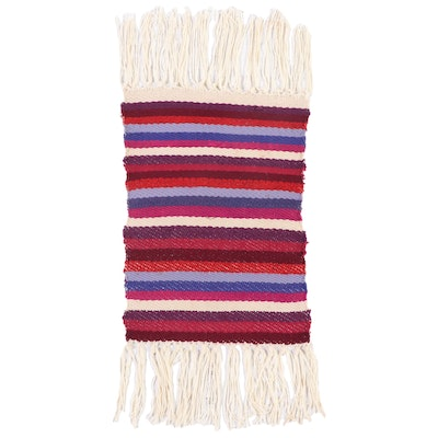 1'4 x 3'1 Handwoven Striped Twill Accent Rug