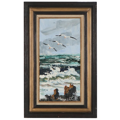Morris Katz Seascape Oil Painting, 1990