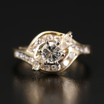 14K Diamond Swirl Ring