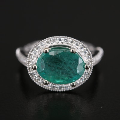 14K 3.68 CT Emerald and Diamond East-West Halo Ring