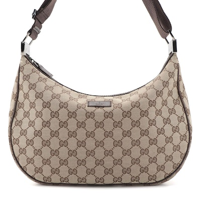 Gucci Round Messenger Bag in GG Canvas with Brown Leather Trim