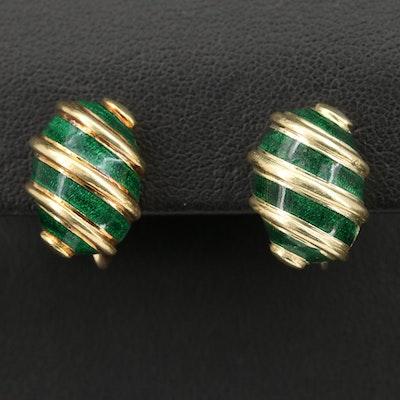"""Jean Schlumberger for Tiffany & Co. """"Olive"""" 18K Enamel Screw Back Earrings"""