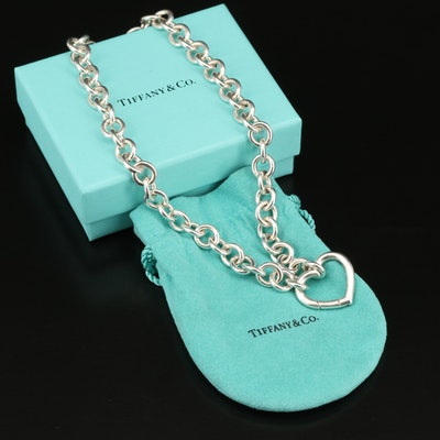 Tiffany & Co. Sterling Heart Necklace with Box, Pouch and Bag
