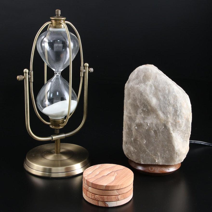 Omonic  Himalayan Salt Night Light, Pier1 Metal Hour Glass and Ceramic Coasters