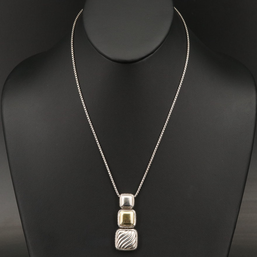 """David Yurman """"Chiclet"""" Sterling Triple Drop Pendant Necklace with 18K Accents"""