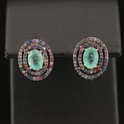 Sterling Beryl and Sapphire Double Halo Earrings