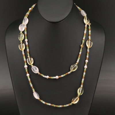 "David Yurman ""Tweejoux"" 18K Pearl, Citrine, Peridot and Rose Quartz Necklace"