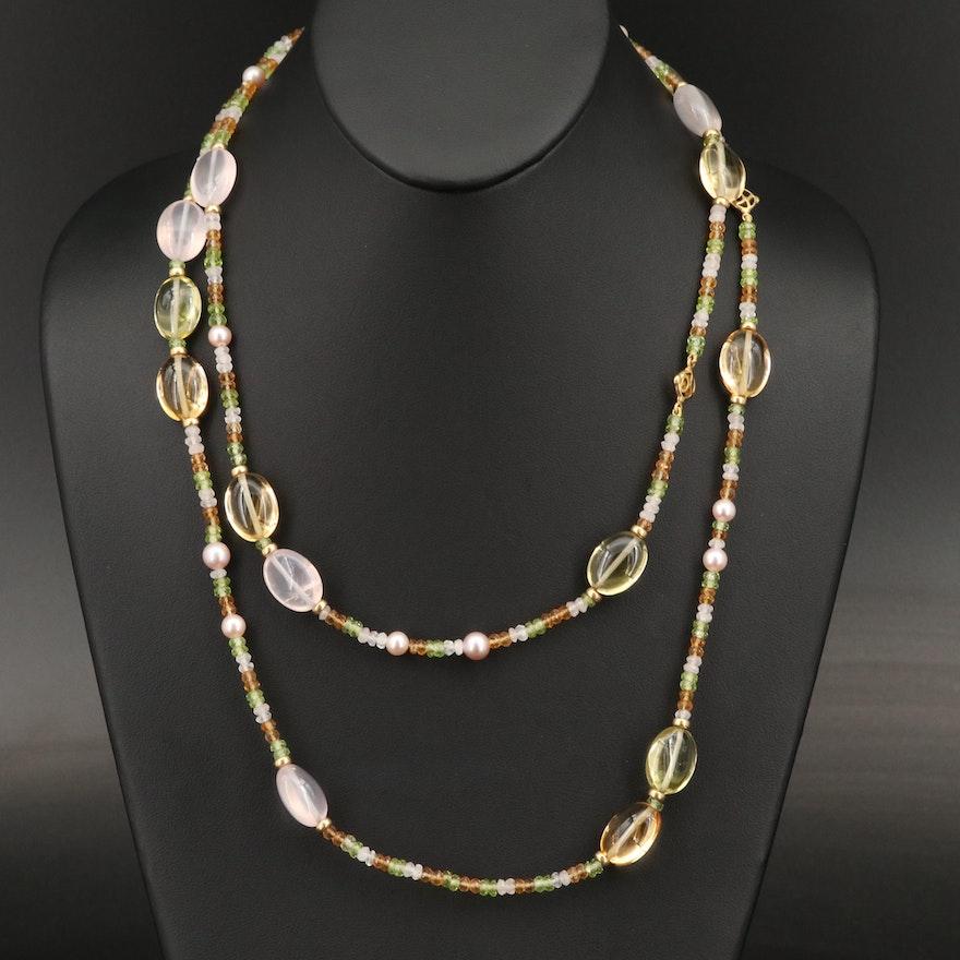 "David Yurman ""Tweejoux"" 18K Pearl, Citrine, Peridot and Rose Quartz Necklace"
