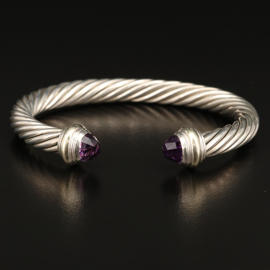David Yurman Sterling Amethyst Cable Cuff with 14K Accents