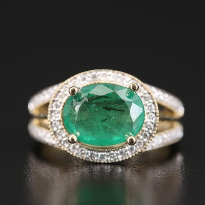 14K 3.01 CT Emerald and Diamond East-West Halo Ring