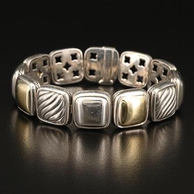 """David Yurman """"Chiclet"""" 18K and Sterling Bracelet"""
