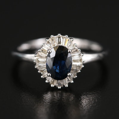 14K 1.04 CT Sapphire and Diamond Halo Ring
