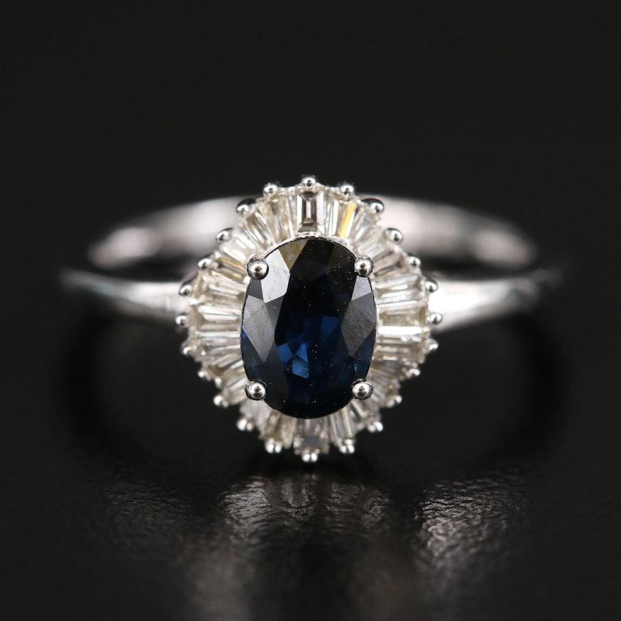 14K 1.04 CT Sapphire and Diamond Halo Ring