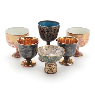 Japanese Kutani and Other Porcelain Sake Cups with Chinese Cloisonné Cup