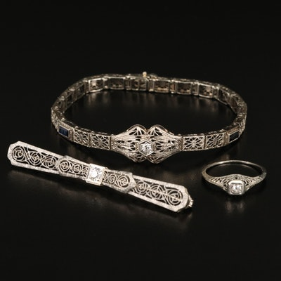 Art Deco Diamond Filigree Jewelry in 14K, 18K and Platinum