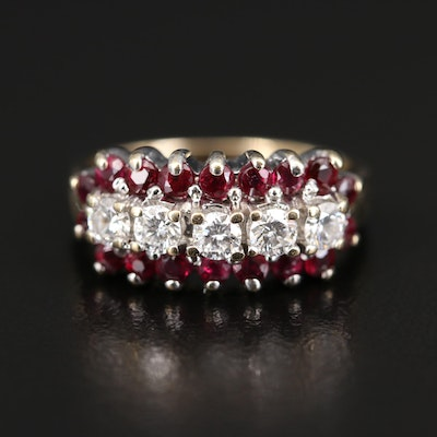 14K Diamond and Ruby Multi-Row Ring