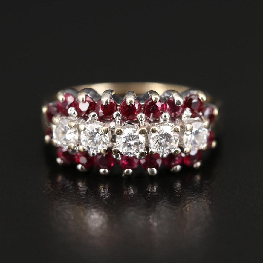 14K Diamond and Ruby Multi-Row Ring