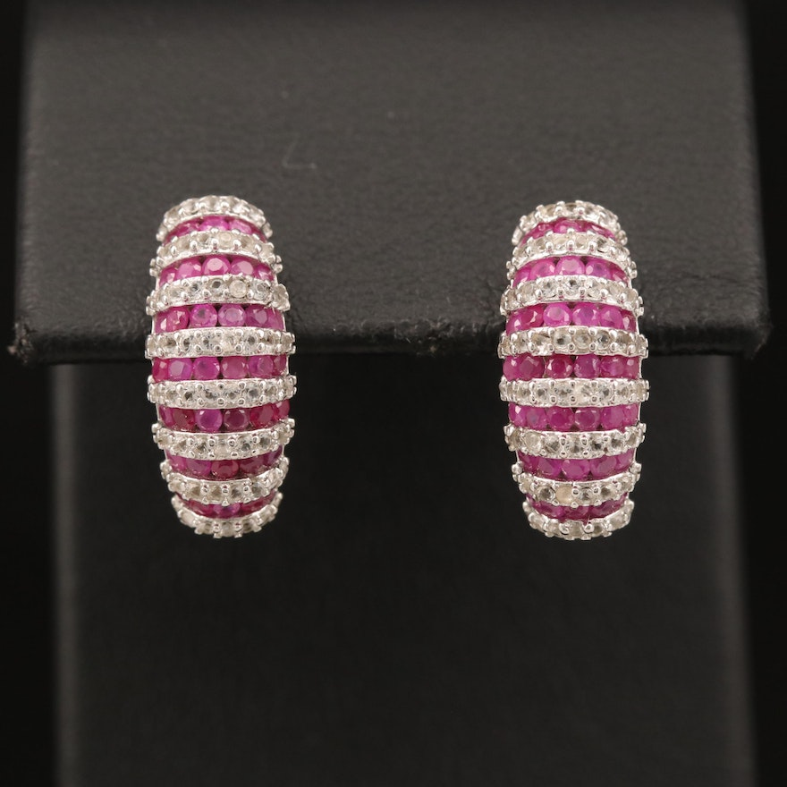 Sterling Ruby and Topaz Earrings