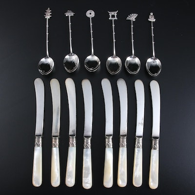 Sterling Silver Demitasse Spoon Set with Mother-of-Pearl Handled Knives