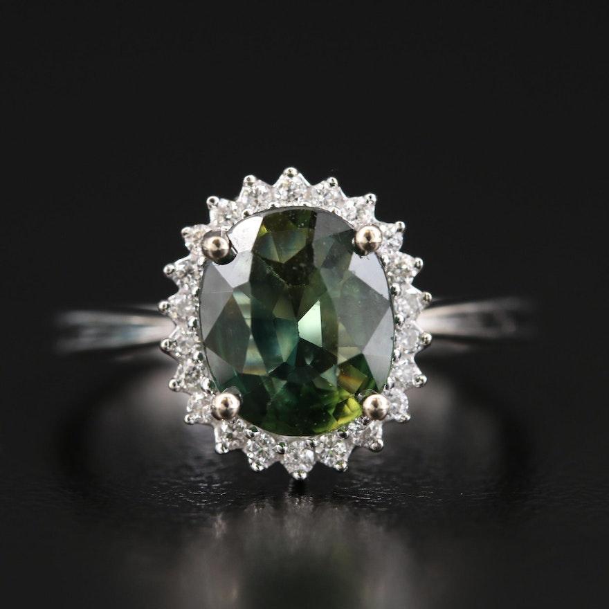 14K 1.69 CT Sapphire and Diamond Halo Ring