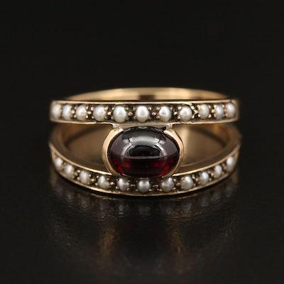 Vintage 14K East-West Set Garnet and Pearl Ring